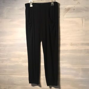 EILEEN FISHER PETITE black ankle pants joggers PS